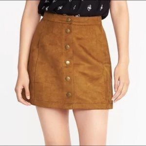 Old Navy A Line Suede Style Snap-Front Mini Skirt